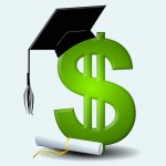 Dollar sign wearing student cap with diploma scroll at bottom